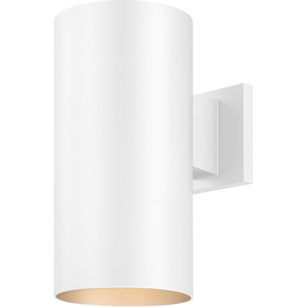 Volume Lighting Medium 1-Light White Aluminum Integrated LED Indoor/Outdoor Wall Mount Cylinder Light/Wall Sconce
