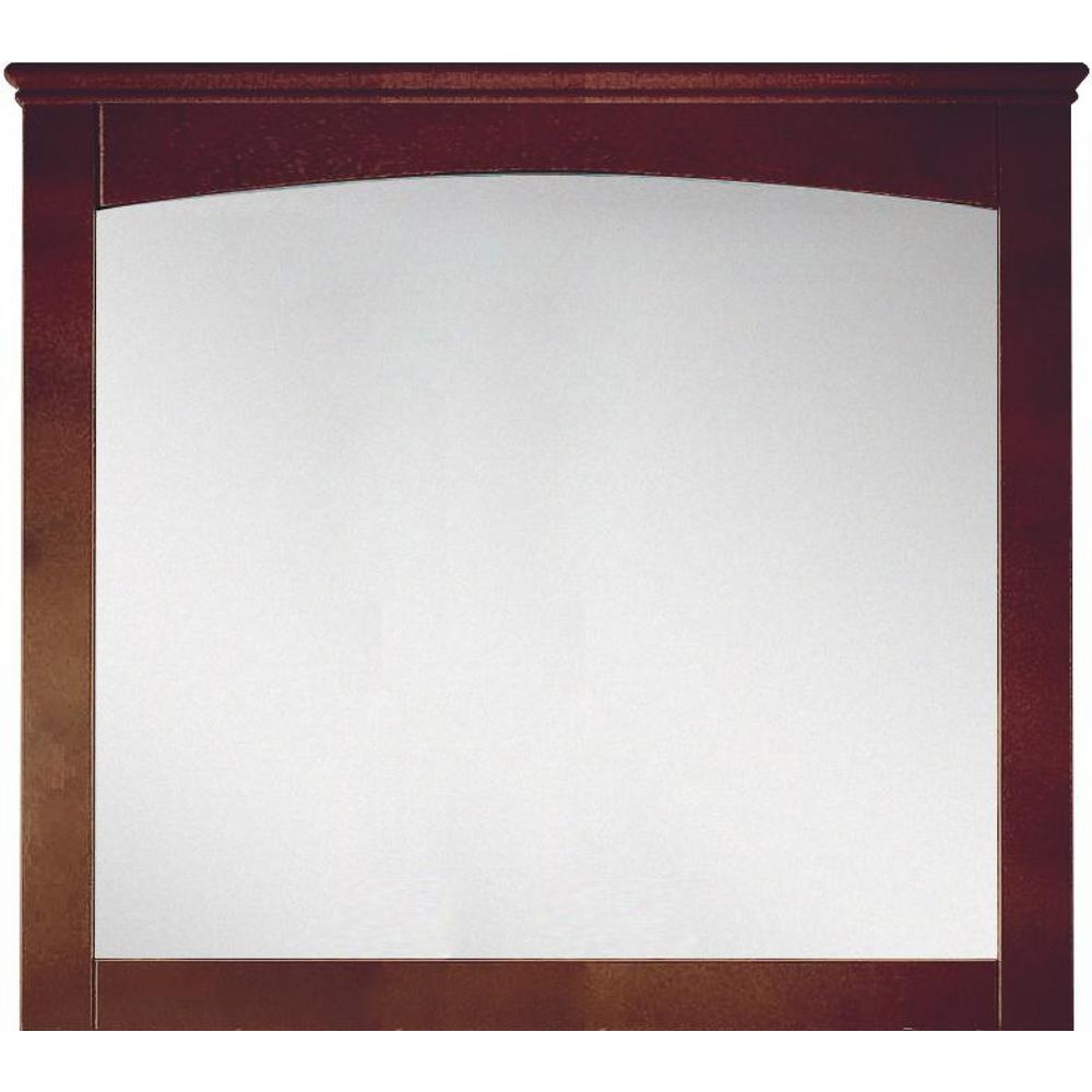 16-Gauge-Sinks 36 in. x 31.5 in.Single Framed Wall Mirror in Lacquer-Stain Walnut
