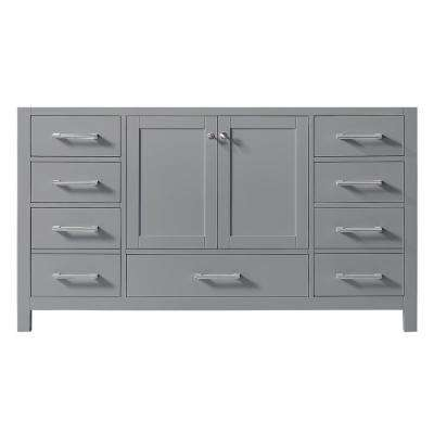 Colette 60 in. W x 22 in. D x 34.2 in. H Bath Vanity Cabinet Only in Taupe Grey