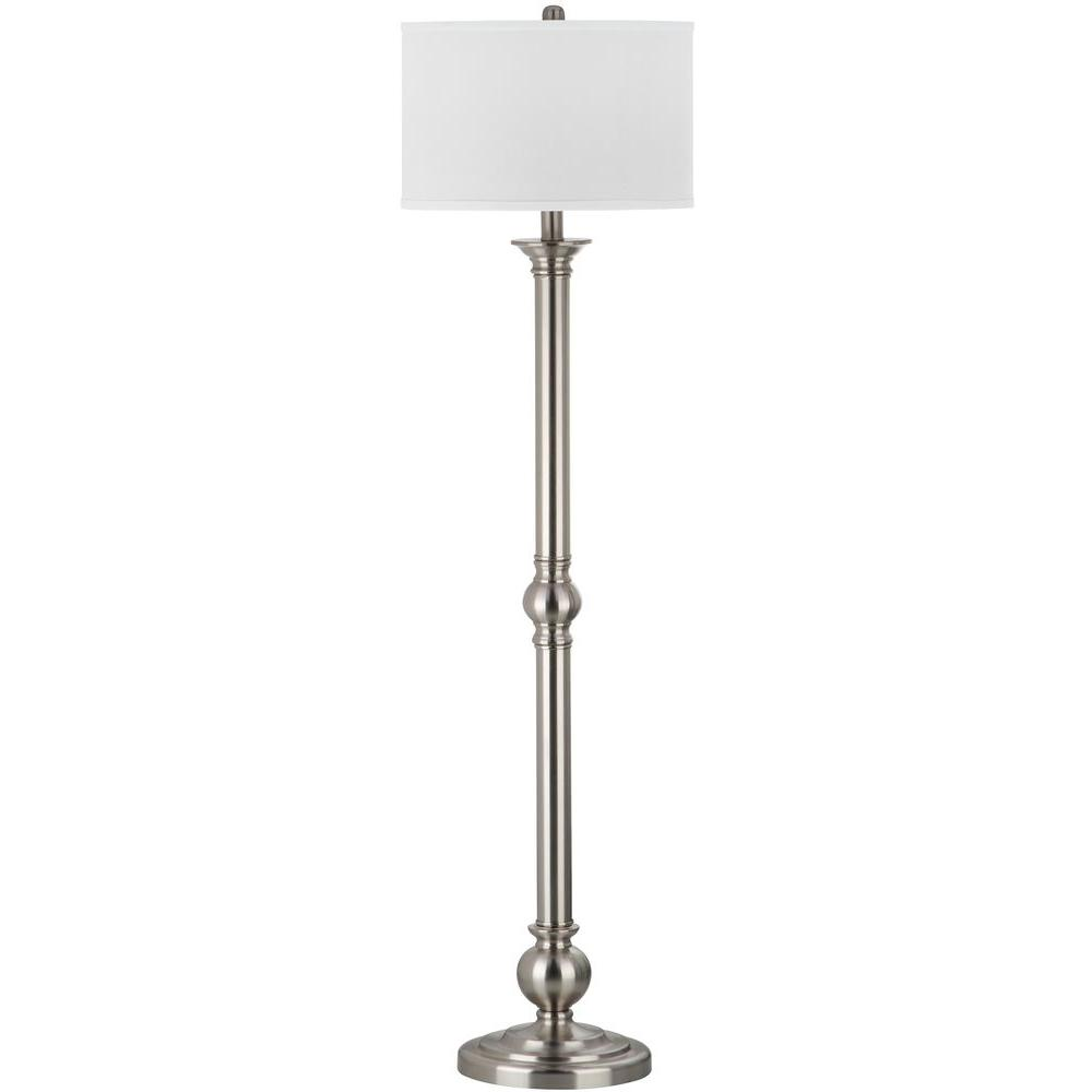 Safavieh Theo 60 in. Nickel Floor Lamp with Off-White Shade ...