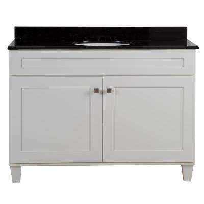 Lansbury 49 in. W x 22 in. D x 36 in. H Bathroom Vanity in White with Color-Point Vanity Top in Black with White Sink