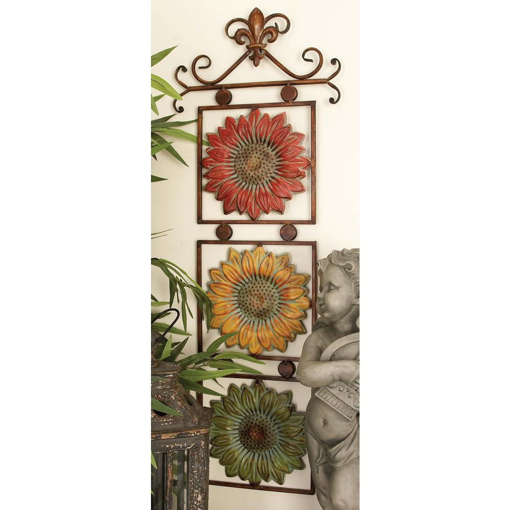 13 in. x 38 in. New Traditional Metal Sunflower Wall Decor in Red ...