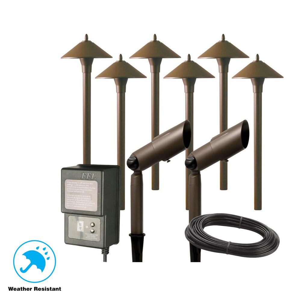 Hampton Bay Low-Voltage Aged Brass Outdoor Halogen Landscape Path Light and Spot Light Kit with Transformer (8-Pack)