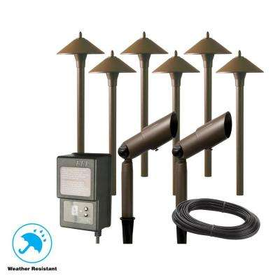 Low Voltage Aged Br Outdoor Halogen Landscape Path Light And Spot Kit With Transformer 8 Pack