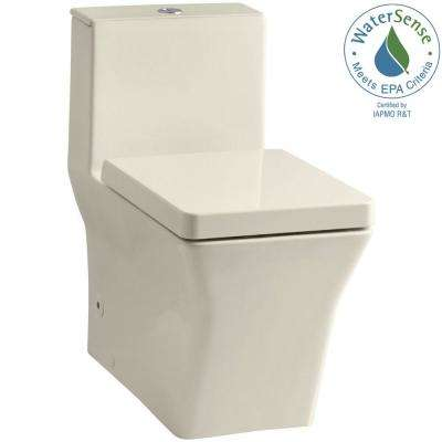 Reve 1-Piece 0.8 or 1.6 GPF Dual Flush Elongated Toilet in Almond, Seat Included