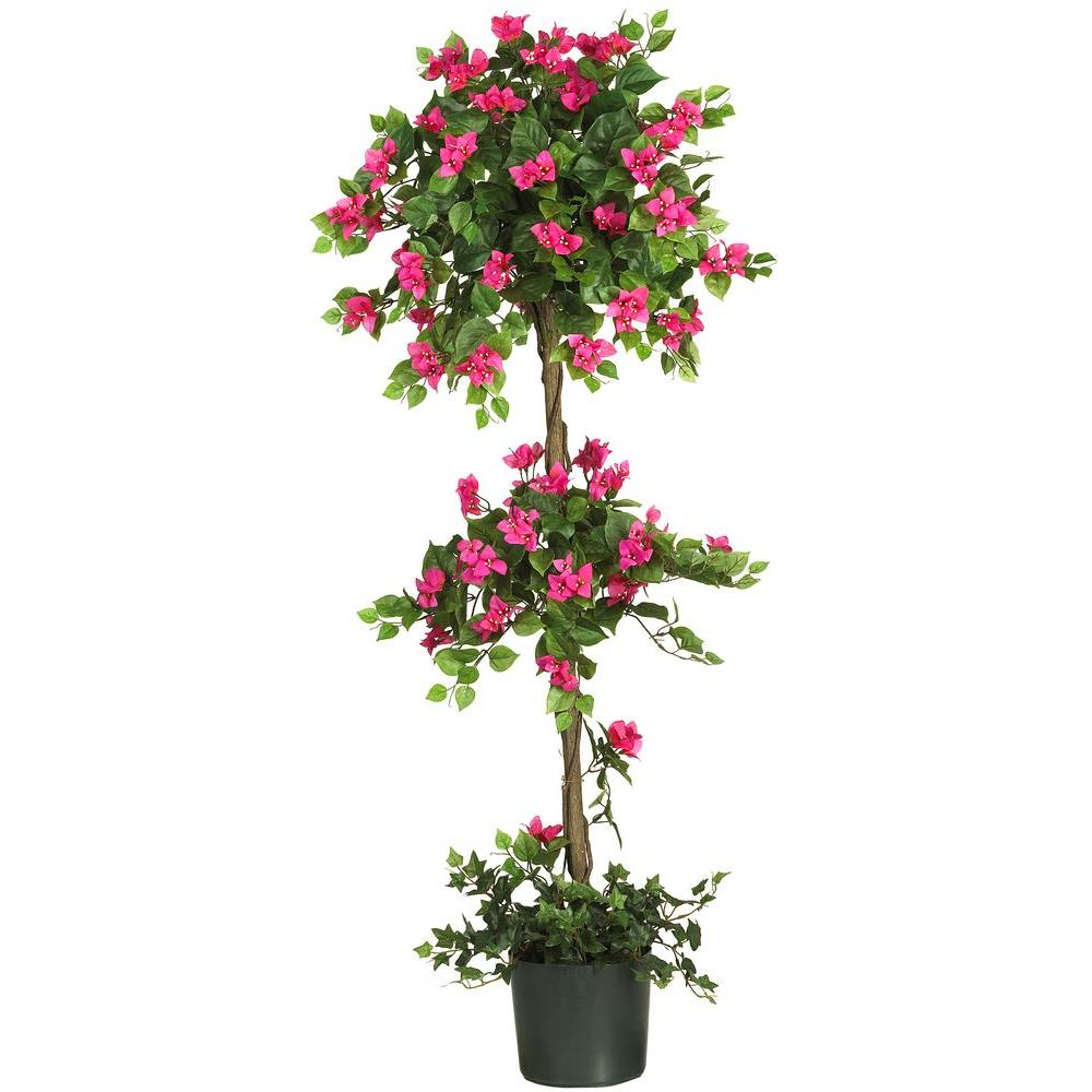 Nearly Natural 5 Ft Mini Bougainvillea Topiary Silk Tree 5228 The Home Depot