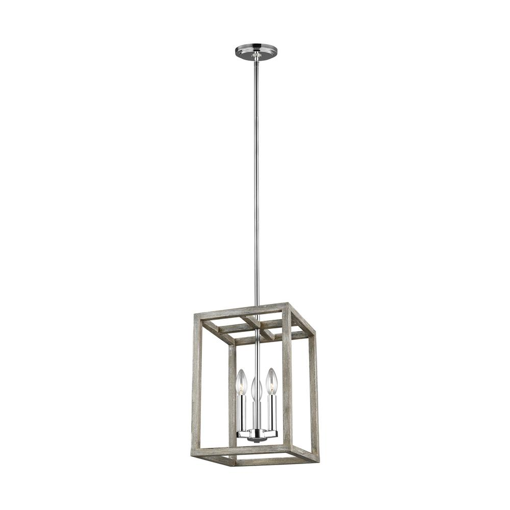 Sea Gull Lighting Moffet Street 3 Light Washed Pine And Chrome Accents Pendant With Dimmable Candelabra Led Bulbs