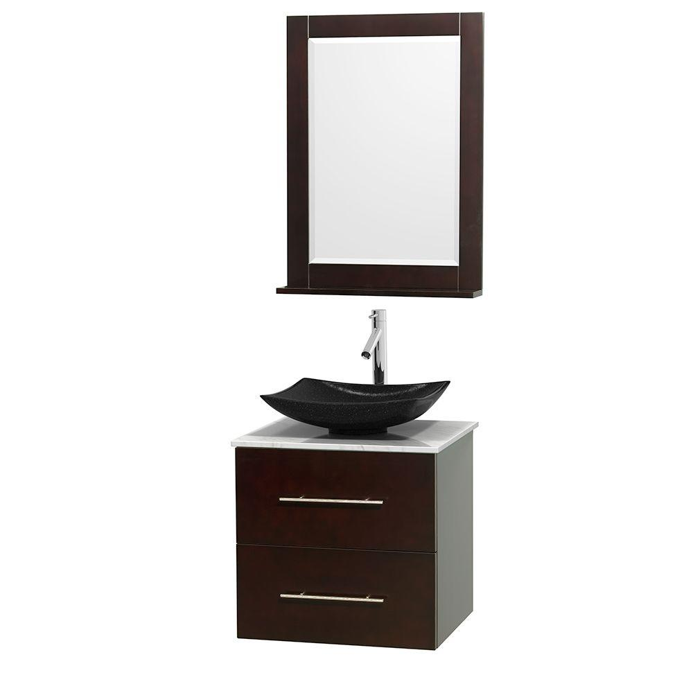 Centra 24 in. Vanity in Espresso with Marble Vanity Top in
