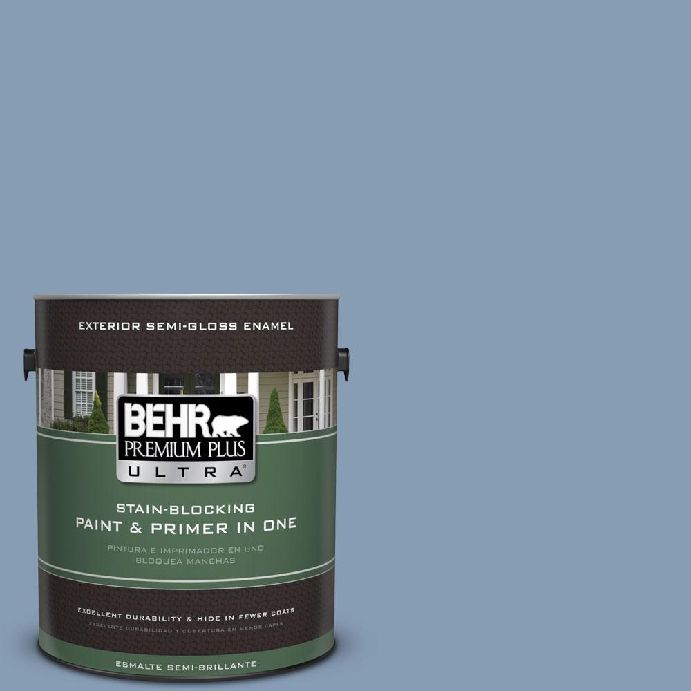 BEHR Premium Plus Ultra 1-gal. #S520-4 Private Jet Semi-Gloss Enamel Exterior Paint