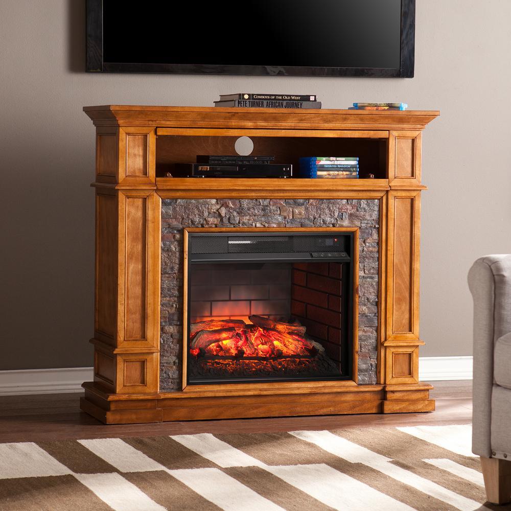 Auburn 45.5 in. W Faux Stone Infrared Media Fireplace in Sienna