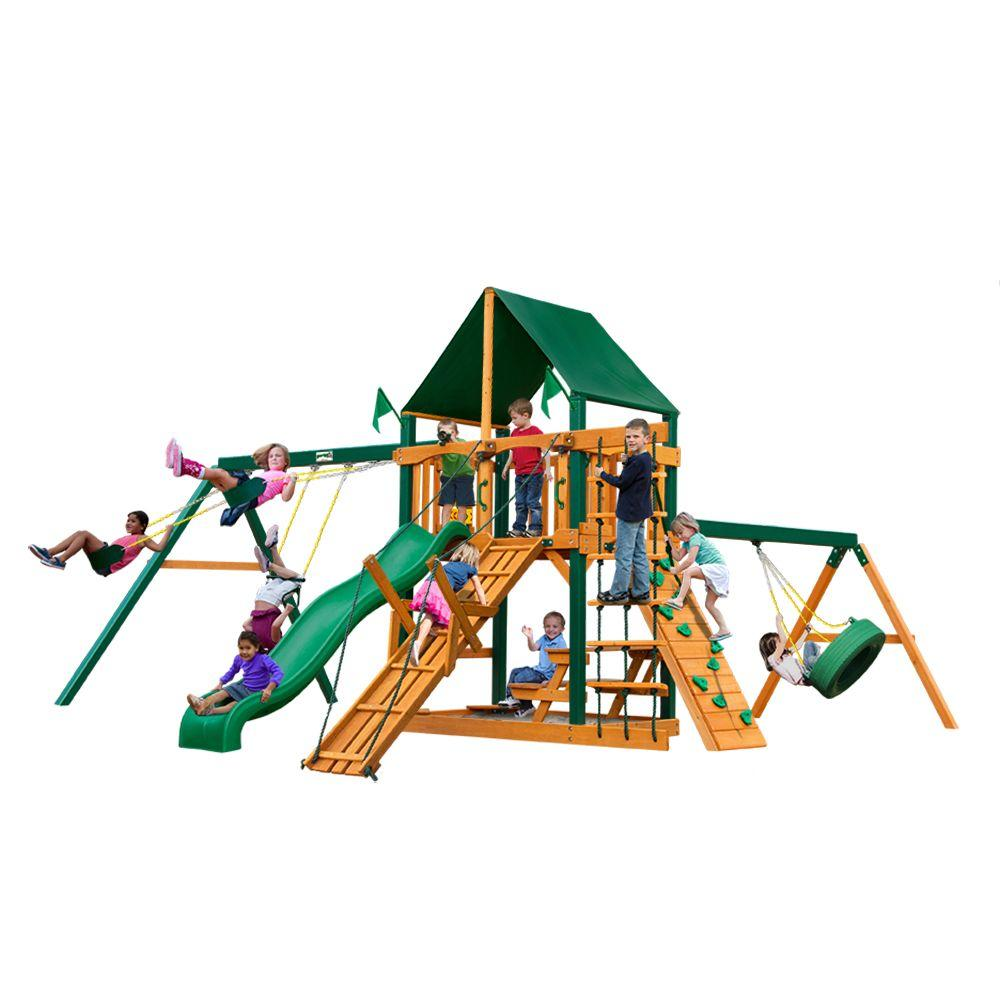Gorilla Playsets Frontier with Timber Shield and Sunbrella Canvas Forest Green Canopy Cedar Playset