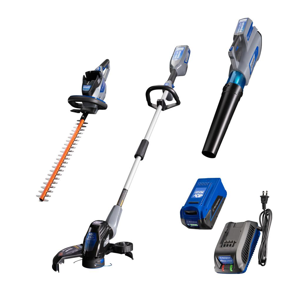 Westinghouse 40V String Trimmer, Hedge Trimmer, and Leaf Blower with 40V 2.0 Ah Battery and Battery Charger
