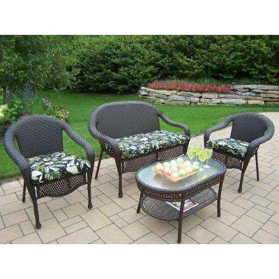 Elite Resin Wicker 4-Piece Patio Seating Set with Floral Cushions