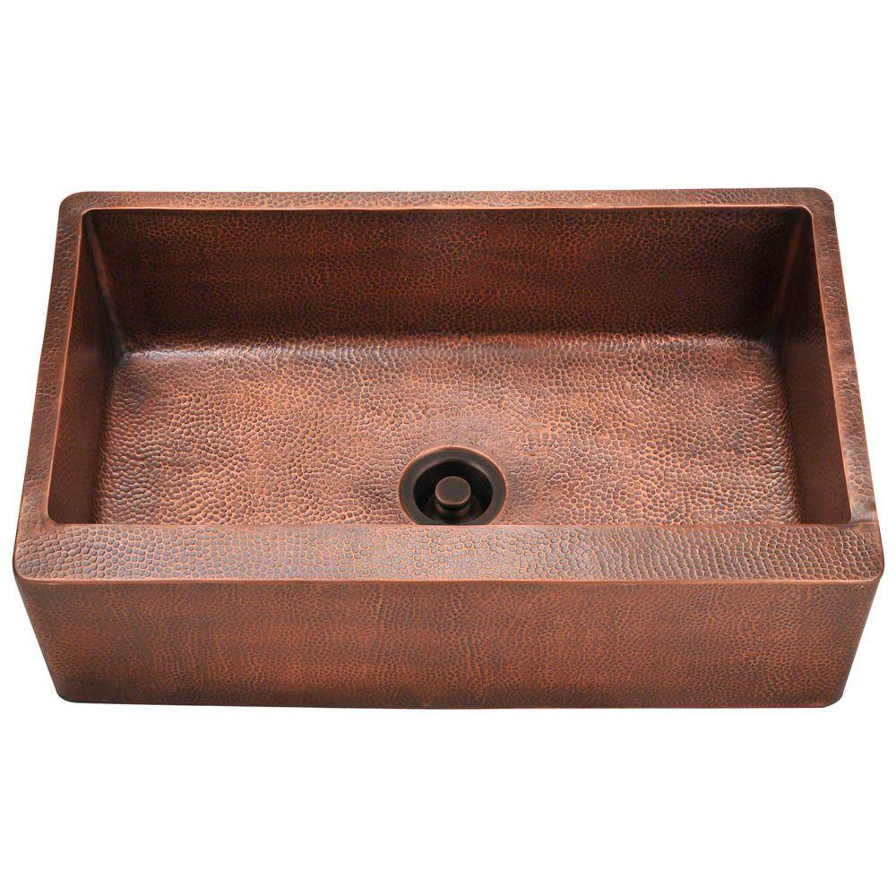 Polaris Sinks Farmhouse Apron Front Copper 33 in. Single Bowl ...