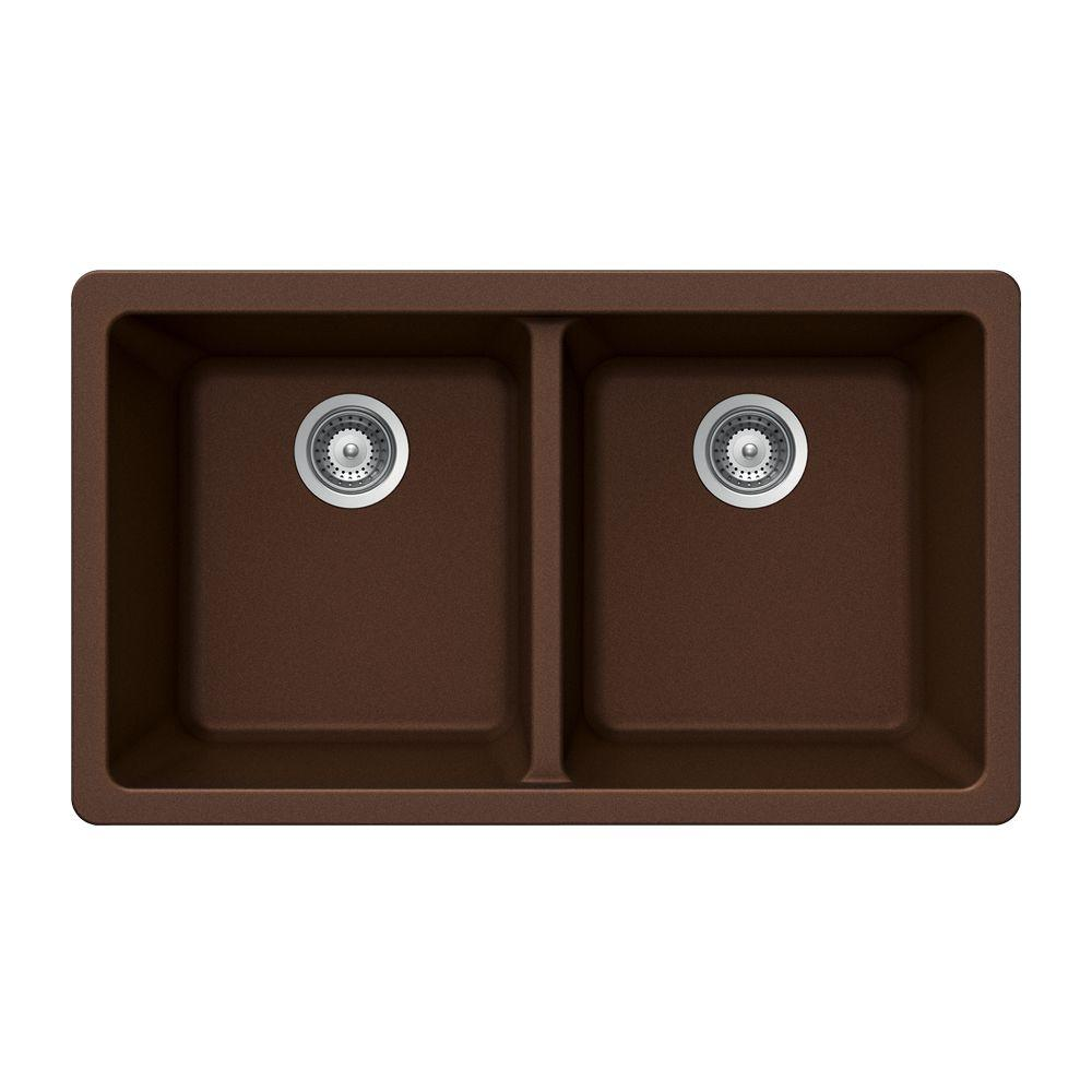HOUZER Madison Series Undermount Granite 33x18.5x9.5 0-hole Double Basin Kitchen Sink in Copper