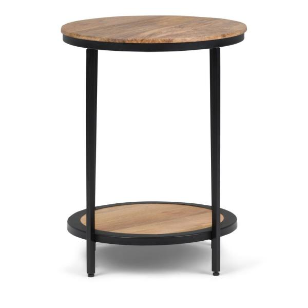 Simpli Home Jenna Contemporary Round 18 in. Wide Metal Round Accent Side Table in Natural
