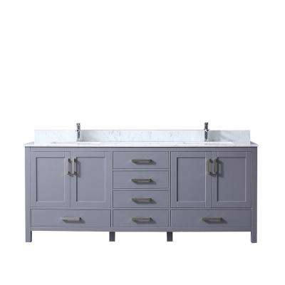 Jacques 80 in. Double Vanity Dark Grey, White Carrera Marble Top, White Square Sinks and no Mirror