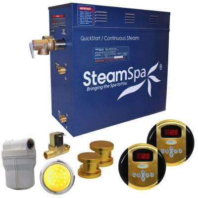 Royal 12kW QuickStart Steam Bath Generator Package with Built-In Auto Drain in Polished Gold