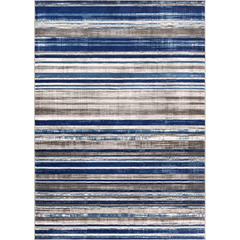 Well Woven New Age Signature Stripes Blue 7 Ft 10 In X 9