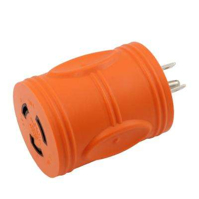 Locking Adapter Household 15 Amp Plug to Locking 20 Amp L5-20R Female Connector