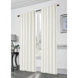 Stacy 84 inch L Polyester Double Layered Rod Pocket with Thermal Lining Window Curtain Panel Pair in Champagne (2-Pack) by