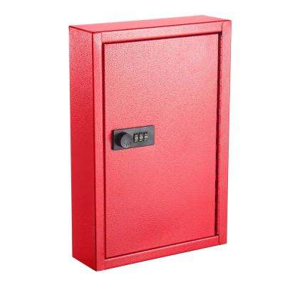 40-Key Steel Heavy-Duty Key Cabinet with Combination Lock, Red