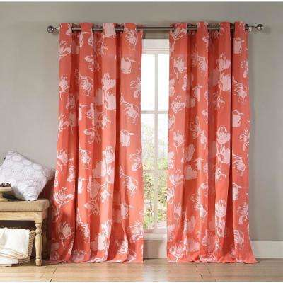 Aster 84 in. L Polycotton Grommet Panel in Burnt Coral (2-Pack)