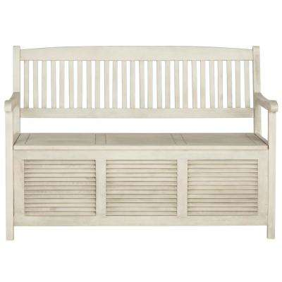 Brisbane 2-Person Distressed White Wood Outdoor Bench