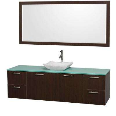 Amare 72 in. Vanity in Espresso with Glass Vanity Top in Aqua and Carrara Marble Sink
