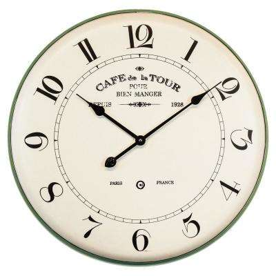 French Caf Green Analog Wall Clock