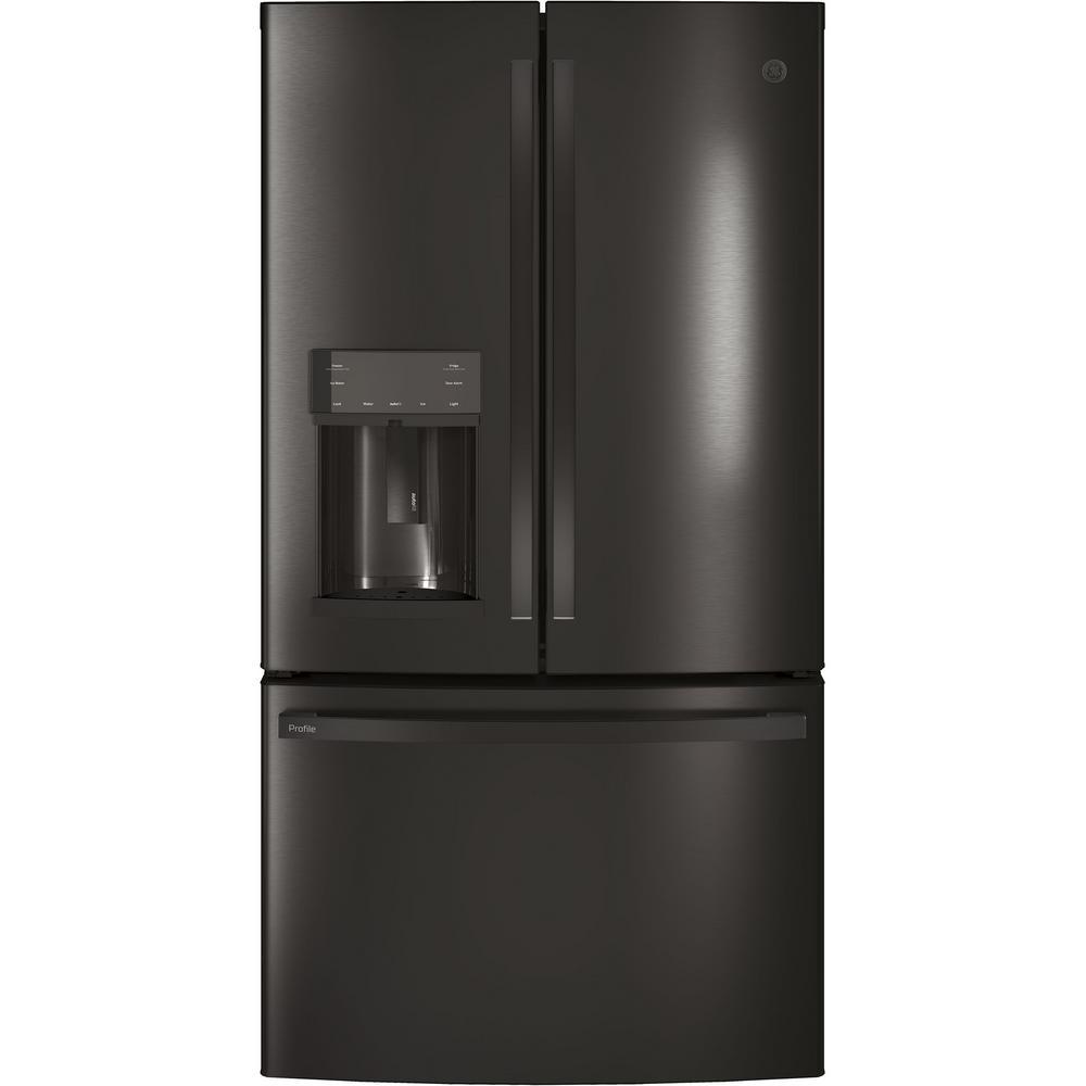 Profile 27.8 cu. ft. French-Door Refrigerator with Door-in-Door in Black Stainless Steel , Fingerprint Resistant