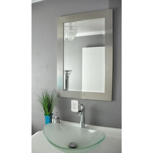 29.5 in. x 35.5 in. Silver Wide Rounded Beveled Wall Mirror