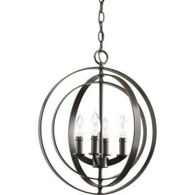 Equinox Collection 4-Light Antique Bronze Orb Pendant
