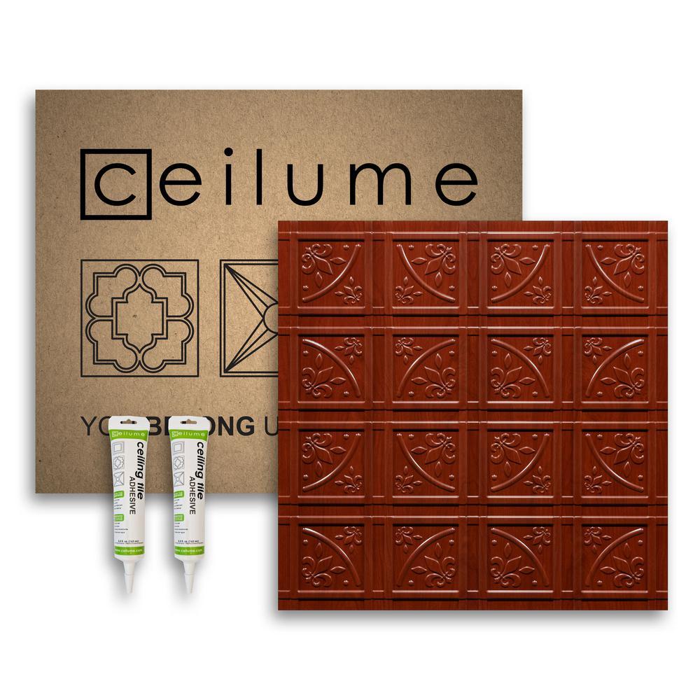 Lafayette Faux Wood-Cherry 2 ft. x 2 ft. Glue-up Ceiling Tile and Backsplash Kit