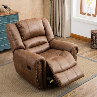 Camel Classic Nut Brown with Overstuffed Arms and Back Leather Recliner Chair