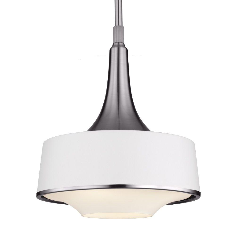 Feiss Holloway 4-Light Brushed Steel/Textured White Pendant
