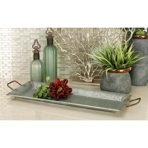 Farmhouse Galvanized Metallic Rectangular Metal Serving Trays (Set of 2) by