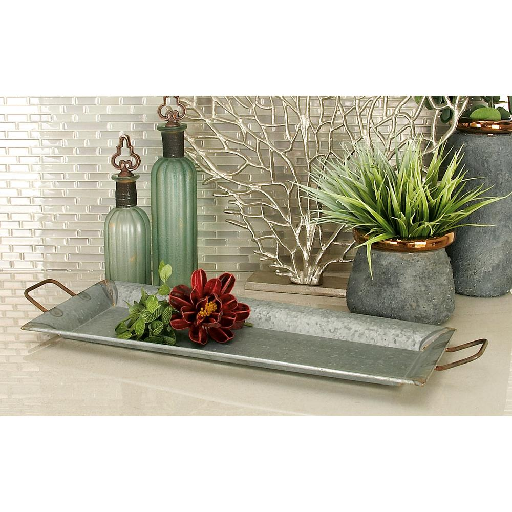 Farmhouse Galvanized Metallic Rectangular Metal Serving Trays (Set of 2)