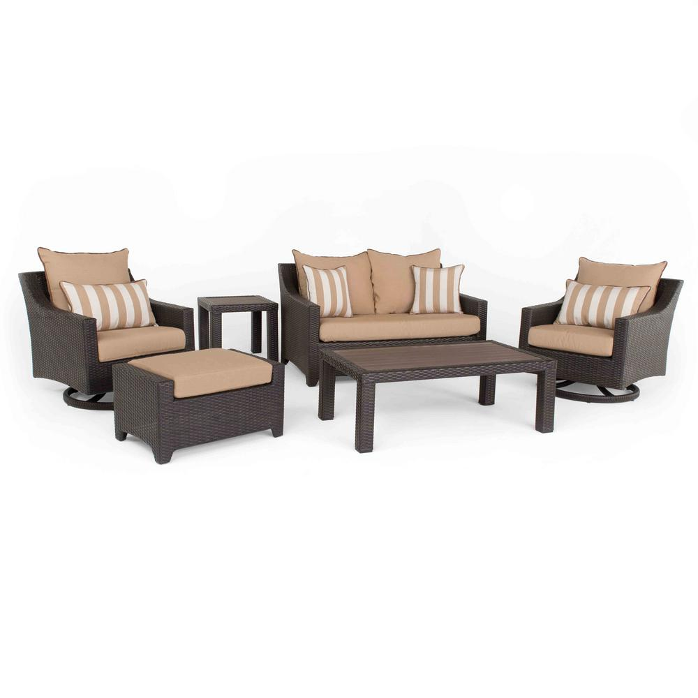 RST Brands Deco Deluxe 6-Piece All-Weather Wicker Patio Love and Motion Club Seating Set with Maxim Beige Cushions