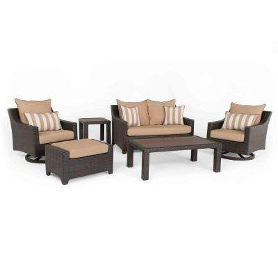 Deco Deluxe 6-Piece All-Weather Wicker Patio Love and Motion Club Seating Set with Maxim Beige Cushions