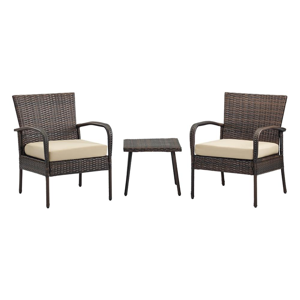 Bali Brown 3 Piece Wicker Patio Conversation Set With Tan Cushions Os 210274 08 52 The Home Depot