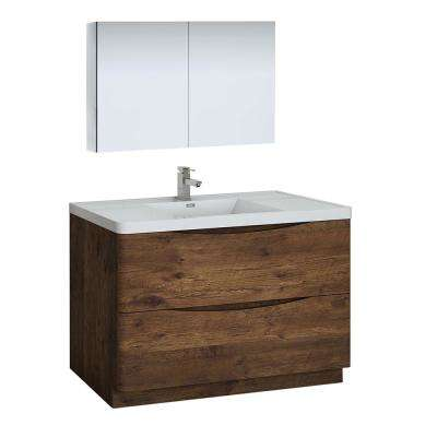 Tuscany 48 in. Modern Bathroom Vanity in Rosewood with Vanity Top in White with White Basin and Medicine Cabinet