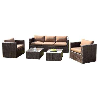 Hampton 5-Piece Aluminum and Wicker Patio Seating Set with Brown Cushions