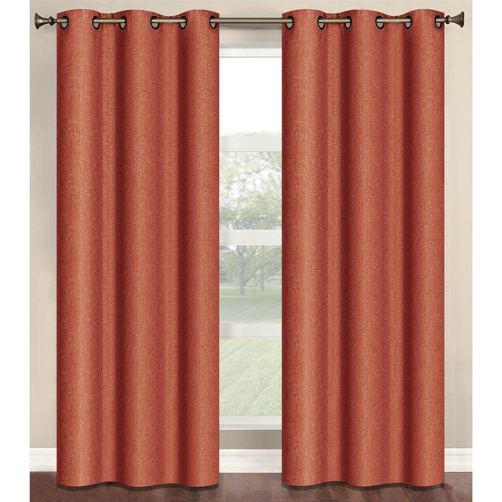 Bella Luna Semi Opaque Marina Faux Linen 84 In L Room Darkening Grommet Curtain