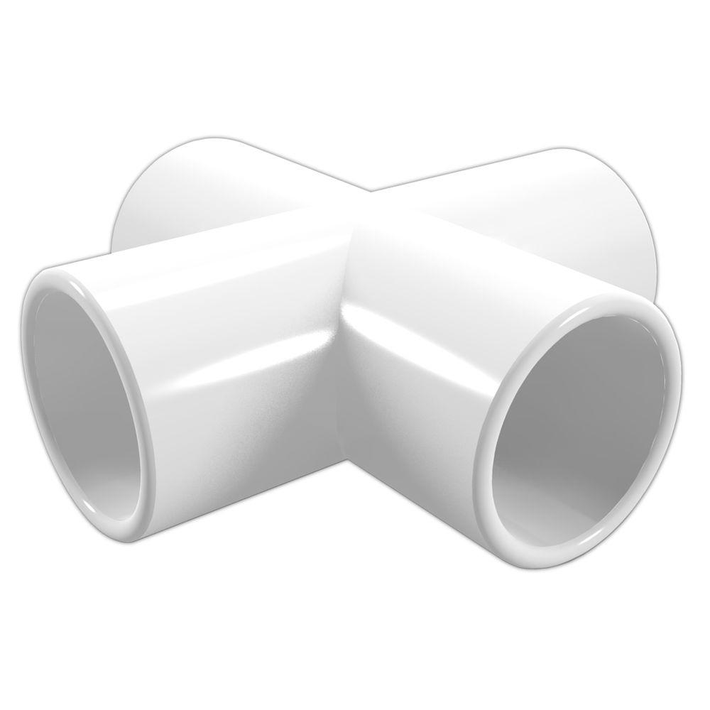 2 in. Furniture Grade PVC Cross in White (4-Pack)