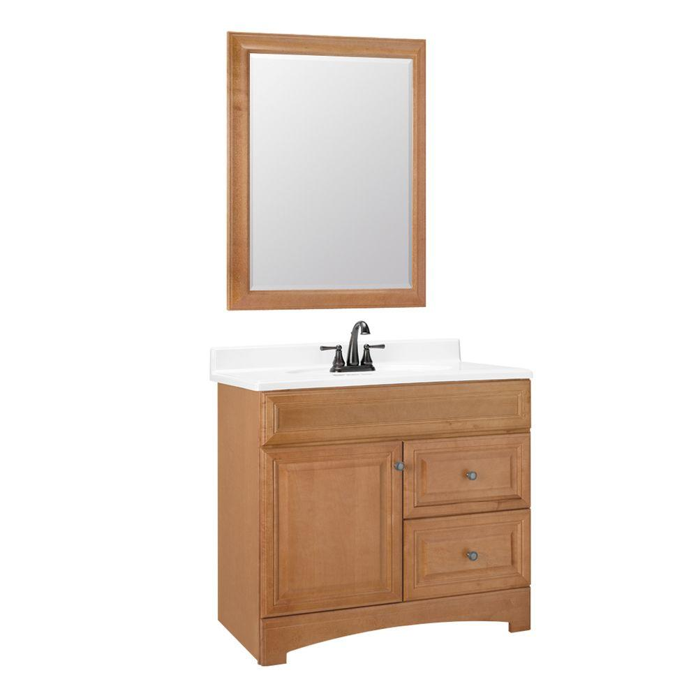 American Classics Cambria 36 in. W x 21 in. D Vanity Cabinet with Mirror in Harvest