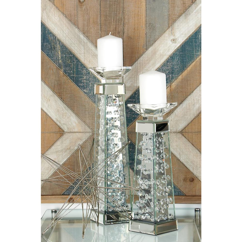 14 in. Clear Glass and Mirror Pedestal Candle Holder
