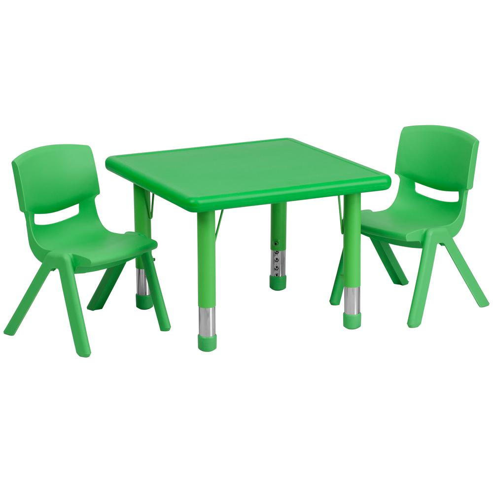 Green 3-Piece Table and Chair Set