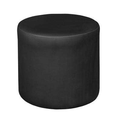Round Black Leather Ottomans Living Room Furniture The