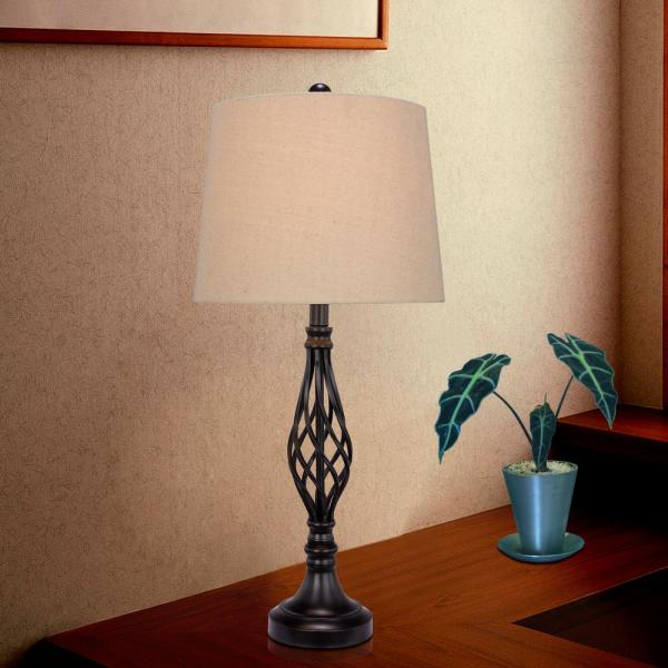 Fangio Lighting Fangio Lighting S Two 27 In Black Metal Table Lamps For The Price Of One W 1462blk 2pk The Home Depot